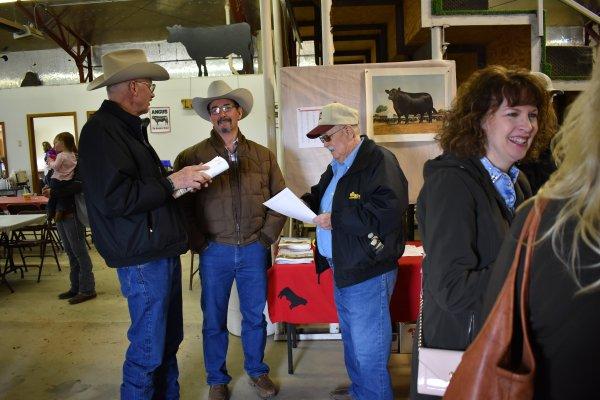 Kim, Steve, Cliff visit before the 2018 bull sale