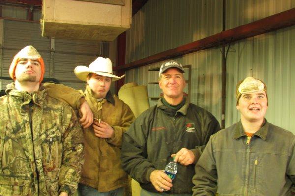 Pre-clip cleaning crew:  Bob, Luke K., Rob, & Cooper