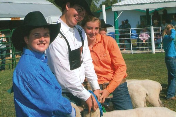 Cooper, Bob, Hope & their pen of 3 sheep