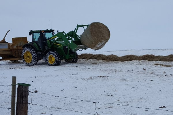 Winter 2018 Steve processes hay for cows on the creek.