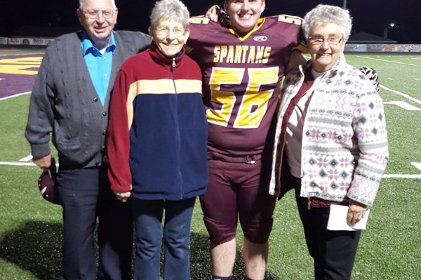 Fall, 2017, Cooper, a Senior, gets support from all his grandparents.