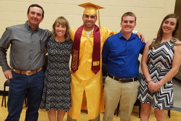May, 2017, Angus graduates Baker High School.